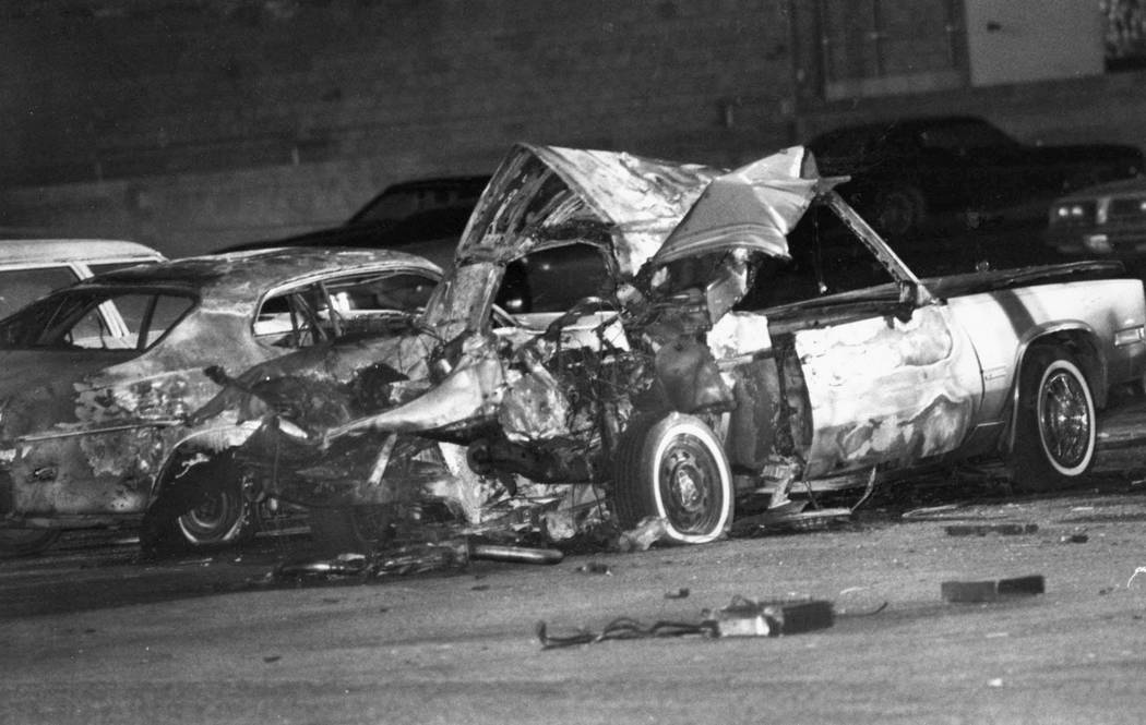 "Frank ""Lefty"" Rosenthal's 1981 Cadillac is shown after it exploded Oct. 4, 1982 in the Marie Callender's parking lot at 600 E. Sahara Ave. (Rene Germanier/Las Vegas Review-Journal)"