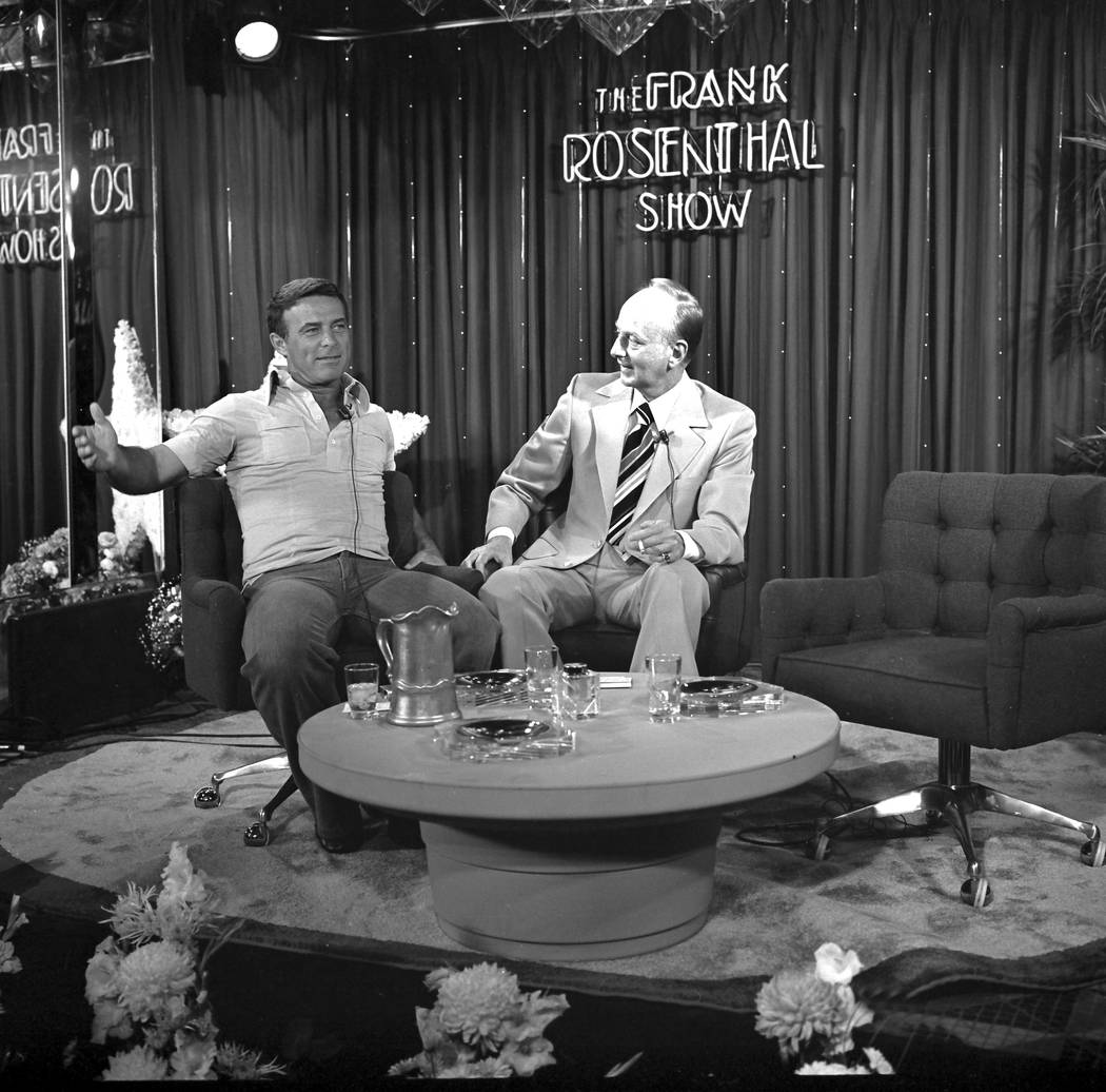 "Actor Robert Conrad, left, talks with host Frank Rosenthal during an appearance on ""The Frank Rosenthal Show"" filmed at the Stardust Hotel Aug. 22, 1977. NOTE: Rosenthal was made famous ..."