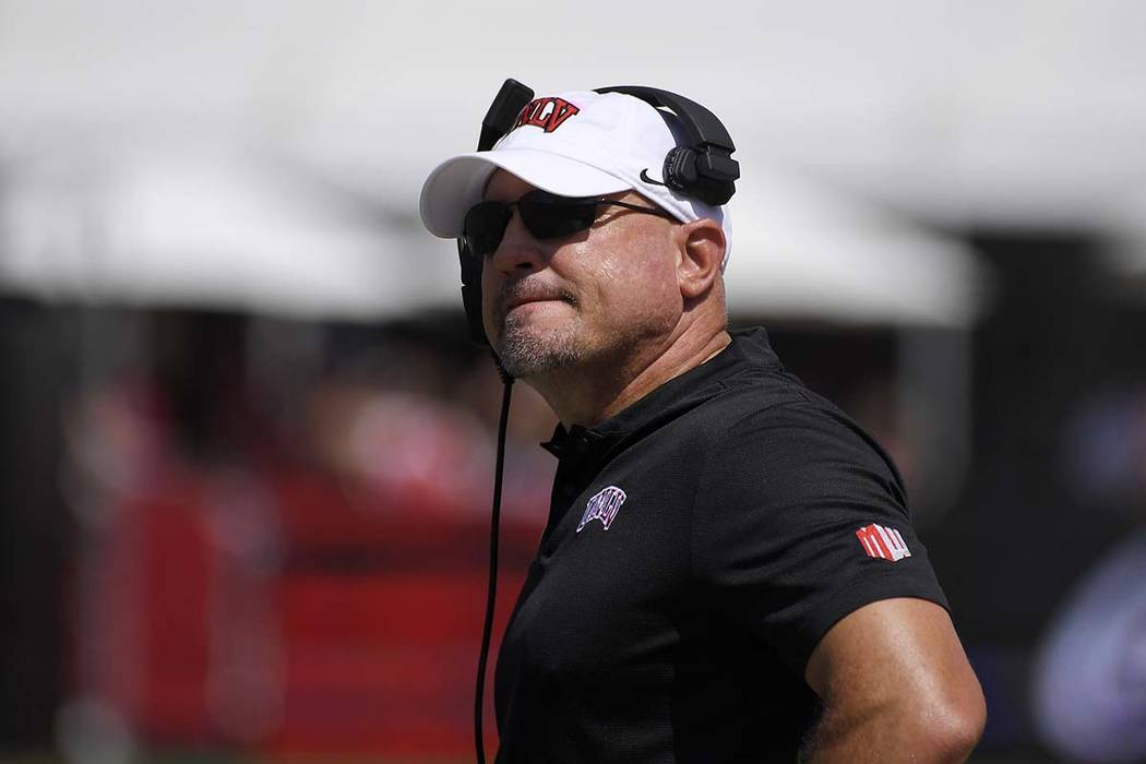 UNLV head coach Tony Sanchez watches the first half of an NCAA college football game against Southern California in Los Angeles, Sept. 1, 2018. (Mark J. Terrill/AP, File)