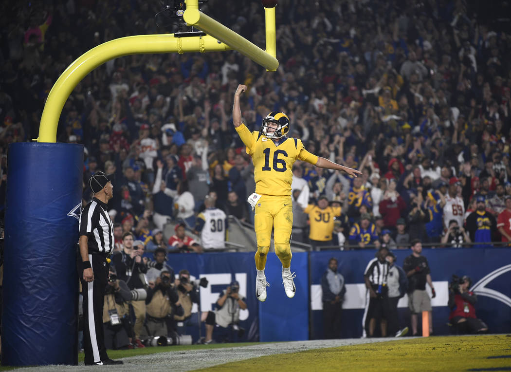 Los Angeles Rams quarterback Jared Goff celebrates after scoring a touchdown against the Kansas City Chiefs during the second half of an NFL football game, Monday, Nov. 19, 2018, in Los Angeles. ( ...