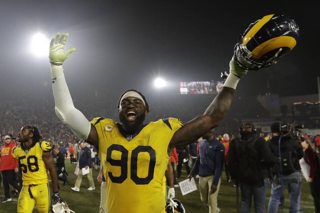 Los Angeles Rams defensive end Michael Brockers (90) celebrates after the Rams beat the Kansas City Chiefs 54-51 in an NFL football game, Monday, Nov. 19, 2018, in Los Angeles. (AP Photo/Marcio Jo ...