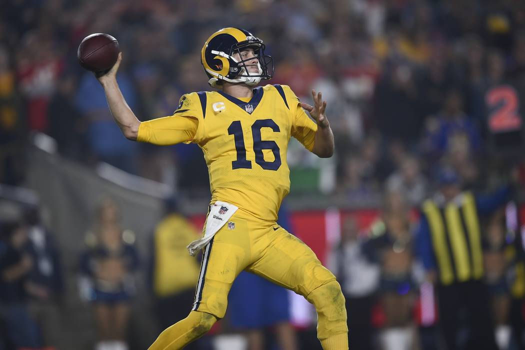 Los Angeles Rams quarterback Jared Goff passes against the Kansas City Chiefs during the second half of an NFL football game, Monday, Nov. 19, 2018, in Los Angeles. (AP Photo/Kelvin Kuo)
