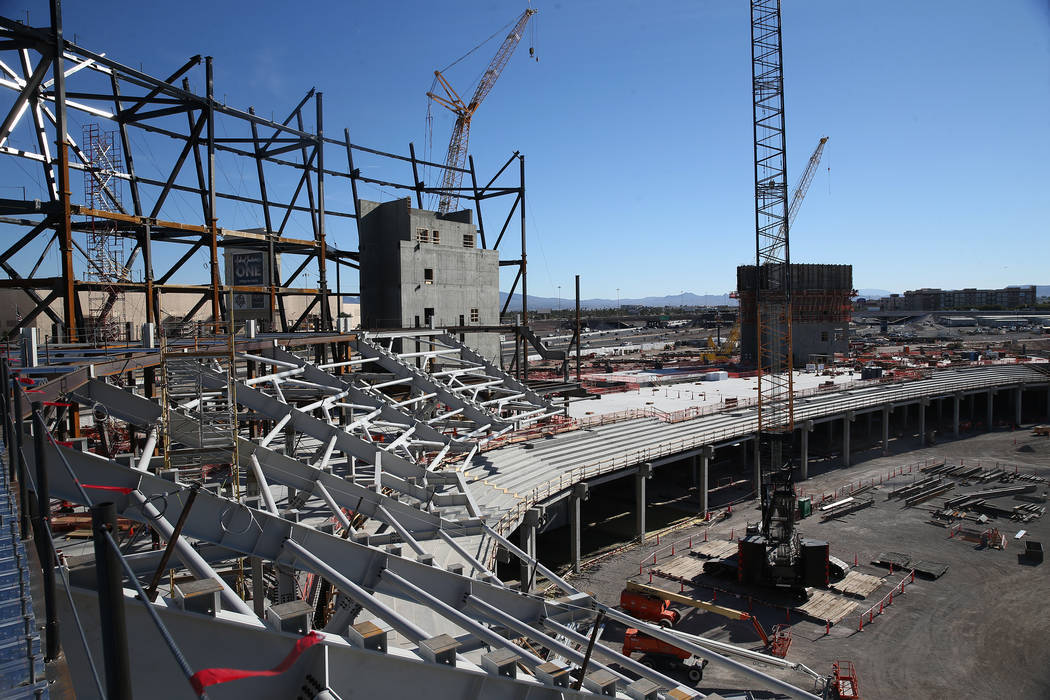A quiet Raiders stadium construction site in Las Vegas as workers were off for the day in recognition of Veterans Day on Monday, Nov. 12, 2018. Erik Verduzco Las Vegas Review-Journal
