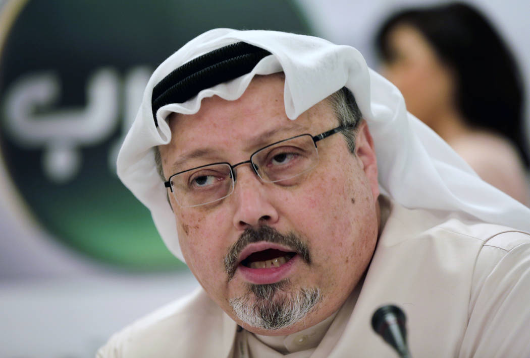 Saudi journalist Jamal Khashoggi speaks during a press conference in Manama, Bahrain, Dec. 15, 2014. President Donald Trump says the U.S. will not levy additional punitive measures at this time ag ...