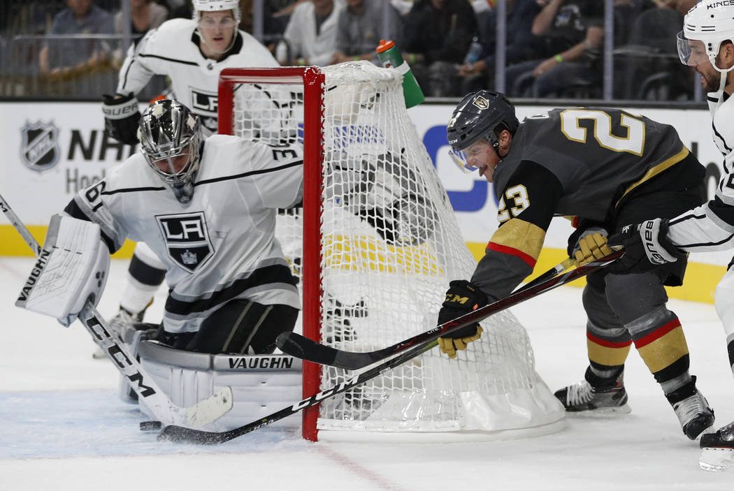 Los Angeles Kings goalie Jack Campbell blocks a shot by Vegas Golden Knights left wing Daniel Carr during the second period of a preseason NHL hockey game Friday, Sept. 28, 2018, in Las Vegas. (AP ...