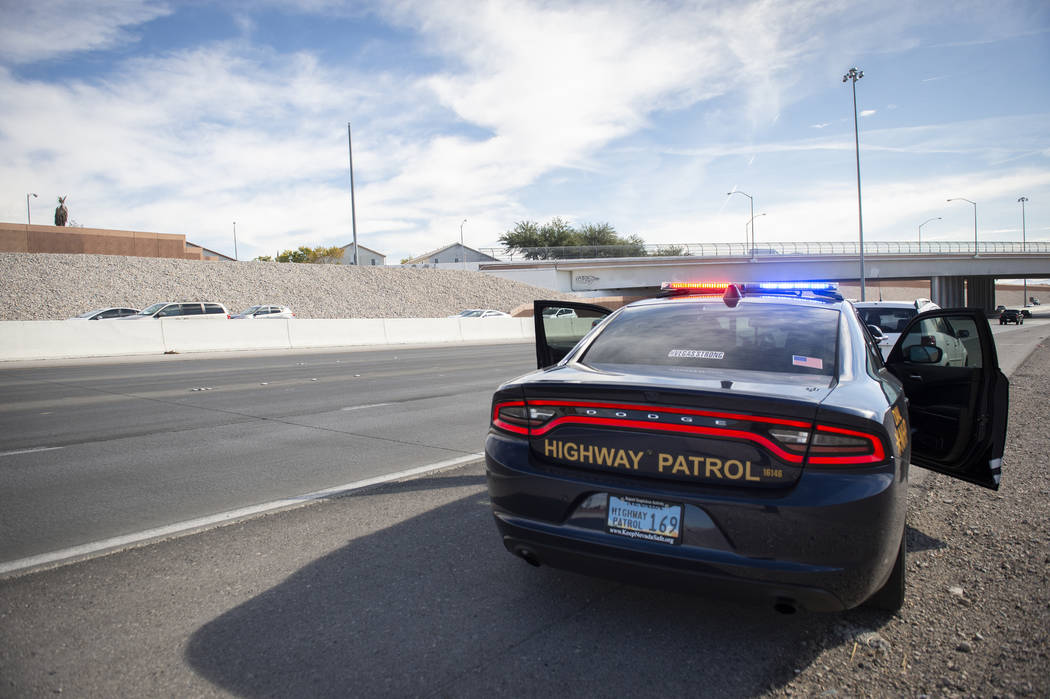 Nevada Highway Patrol public information and education officer Jason Buratczuk pulls over a driver for speeding on the 215 Beltway in Las Vegas on Tuesday, Nov. 20, 2018. Caroline Brehman/Las Vega ...
