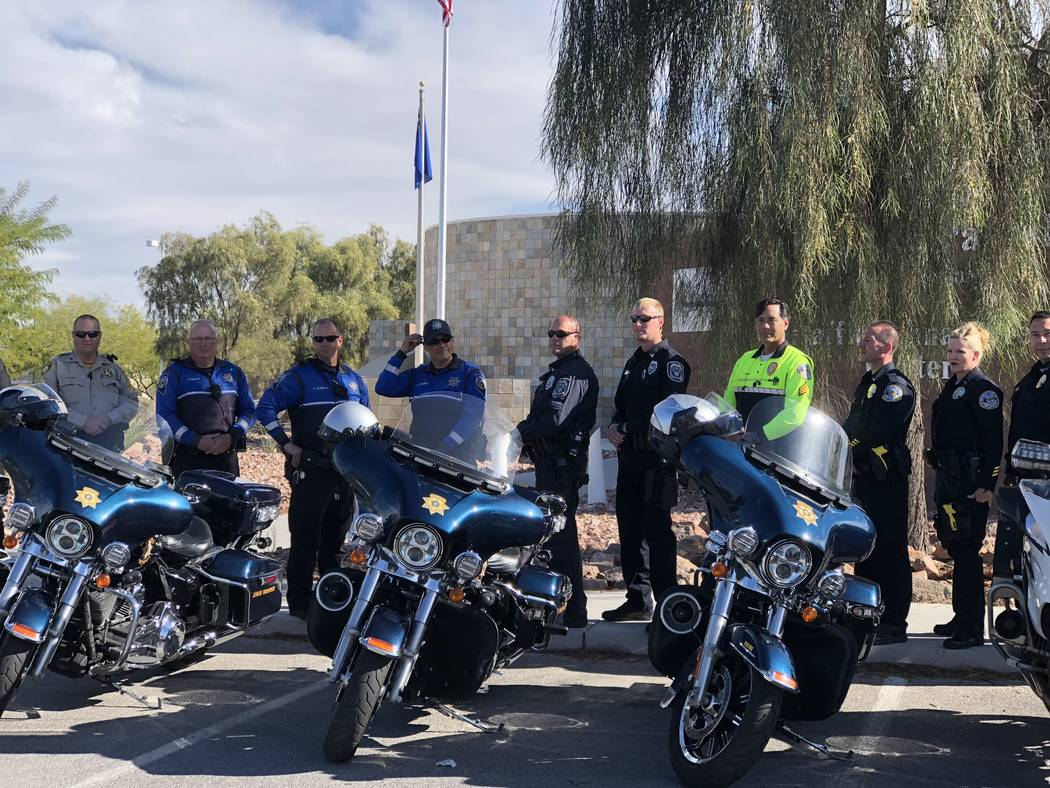 Las Vegas, Henderson and North Las Vegas police join the Nevada Highway Patrol at the agency's southern command to kick off the latest statewide Click It or Ticket campaign targeting unrestrained ...
