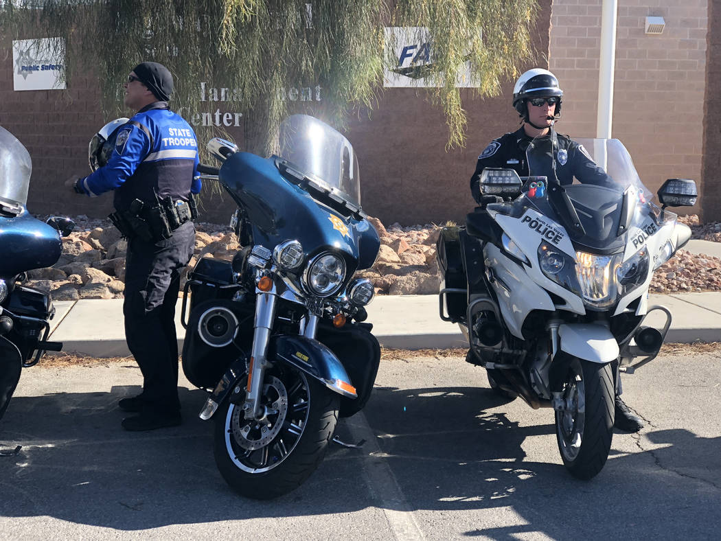 A North Las Vegas officer prepares to begin patrol efforts during the state's latest Click It or Ticket campaign targeting unrestrained drivers on Tuesday, Nov. 20, 2018. (Rio Lacanlale/Las Vegas ...