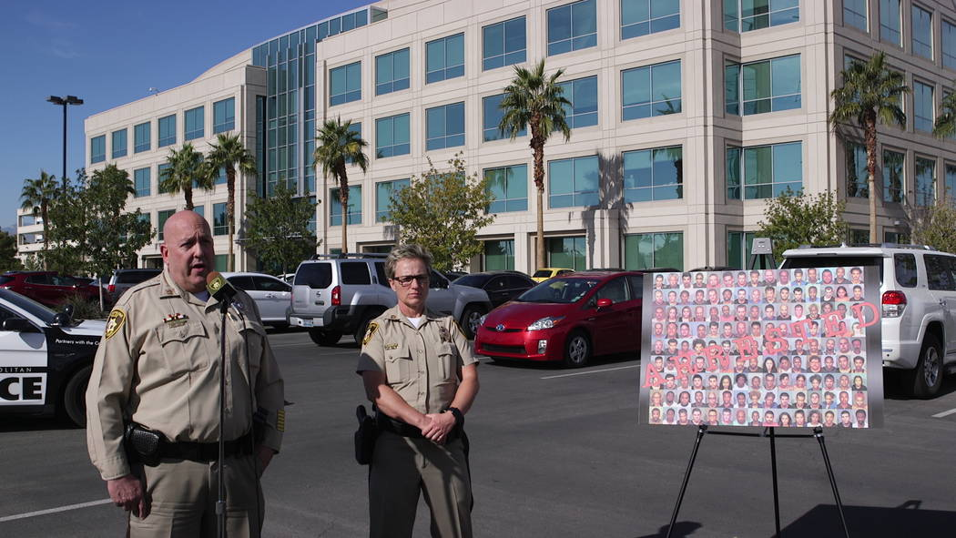 Captain Harry Fagel (left) of the Las Vegas Metro Police Department speaks to the media Tuesday, November 20, 2018, outside Metro headquarters. Captain Fagel addressed holiday safety tips. Captain ...
