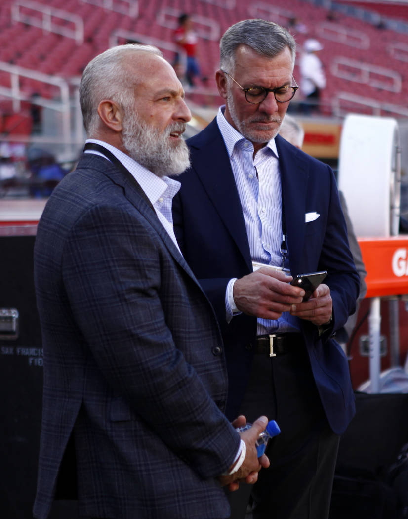 Station Casinos majority owners Lorenzo Fertitta, left, and Frank Fertitta are seen on the San Francisco 49ers sideline prior to the start of an NFL game against the Oakland Raiders at Levi's Stad ...