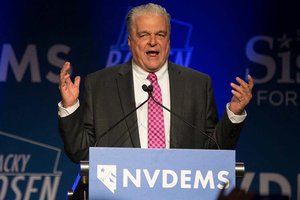 Gov.-elect Steve Sisolak delivers his victory speech at an election night watch party in Las Vegas, Tuesday, Nov. 7, 2018. (Benjamin Hager/Las Vegas Review-Journal)