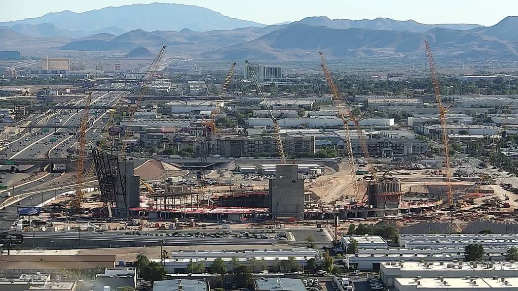 Aerial photo of Raiders stadium construction on Oct. 17, 2018 in Las Vegas. (Las Vegas Review-Journal)