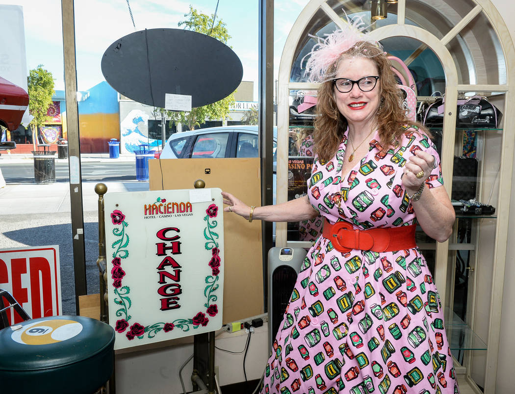 Co-owner Sarah Collins shows off the various products on sale inside Main Street Peddler Antique Mall in Las Vegas, Wednesday, Nov. 21, 2018. Caroline Brehman/Las Vegas Review-Journal