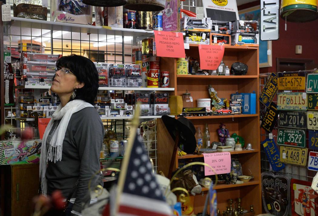 Christine Higgins from Kansas City looks at the various items for sale inside Main Street Peddler Antique Mall in Las Vegas, Wednesday, Nov. 21, 2018. Caroline Brehman/Las Vegas Review-Journal
