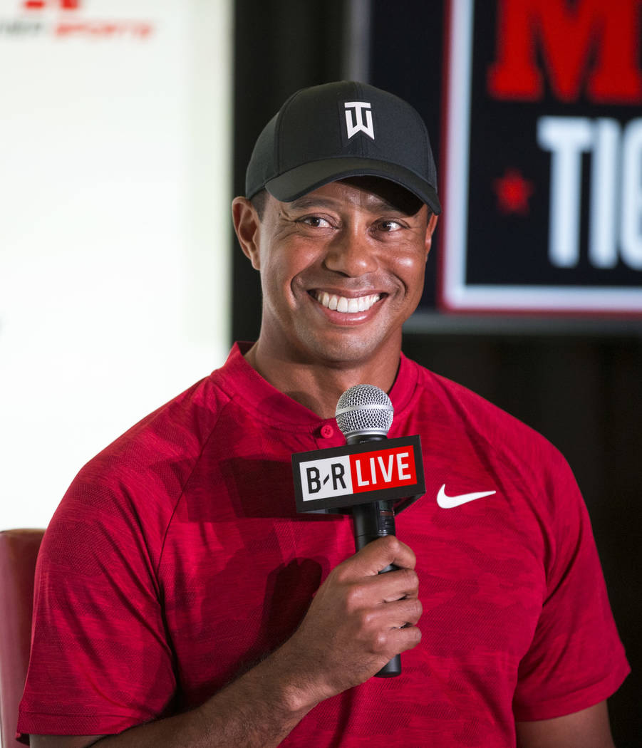 Tiger Woods and Phil Mickelson (not shown) take questions during a press conference at Shadow Creek Golf Course in North Las Vegas on Tuesday, Nov. 20, 2018. The golfers will compete in a match pl ...