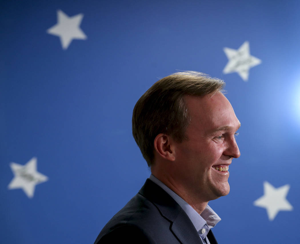 Democratic Salt Lake County Mayor Ben McAdams stands as he speaks at a news conference, Monday, Nov. 19, 2018, in Millcreek, Utah. McAdams declared victory Monday night in the tight race for a U.S ...
