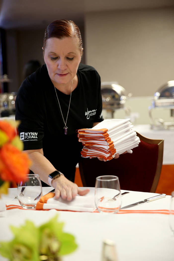 Brenda Shelley, general manager of Wynn Buffett, prepares for Thanksgiving dinner catered by casino at the Shade Tree shelter for homeless women and children in Las Vegas Wednesday, Nov. 21, 2018. ...