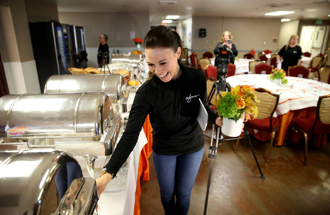 Wynn Las Vegas Director of Banquet Service Leslie Keating prepares for Thanksgiving dinner catered by casino at the Shade Tree shelter for homeless women and children in Las Vegas Wednesday, Nov. ...