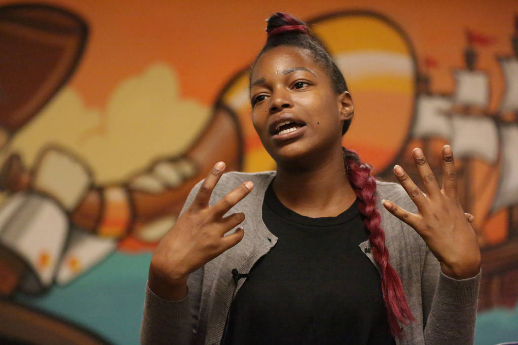 Nefertiti Clark explains how The Shade Tree has helped her get back on her feet with shelter and services that promote self-reliance on Monday, November 19, 2018. Michael Quine/Las Vegas Review-Jo ...