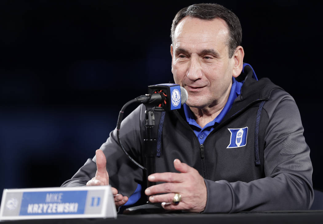 Duke head coach Mike Krzyzewski speaks to the media during a news conference at the Atlantic Coast Conference NCAA college basketball media day in Charlotte, N.C., Wednesday, Oct. 24, 2018. (AP Ph ...