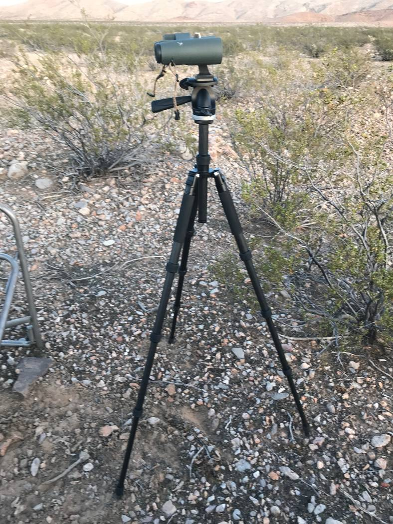 Glassing sessions can be long when hunting bighorn sheep. A tripod can make using even standard size binoculars easier on the eyes as well as the arms. (Doug Nielsen)