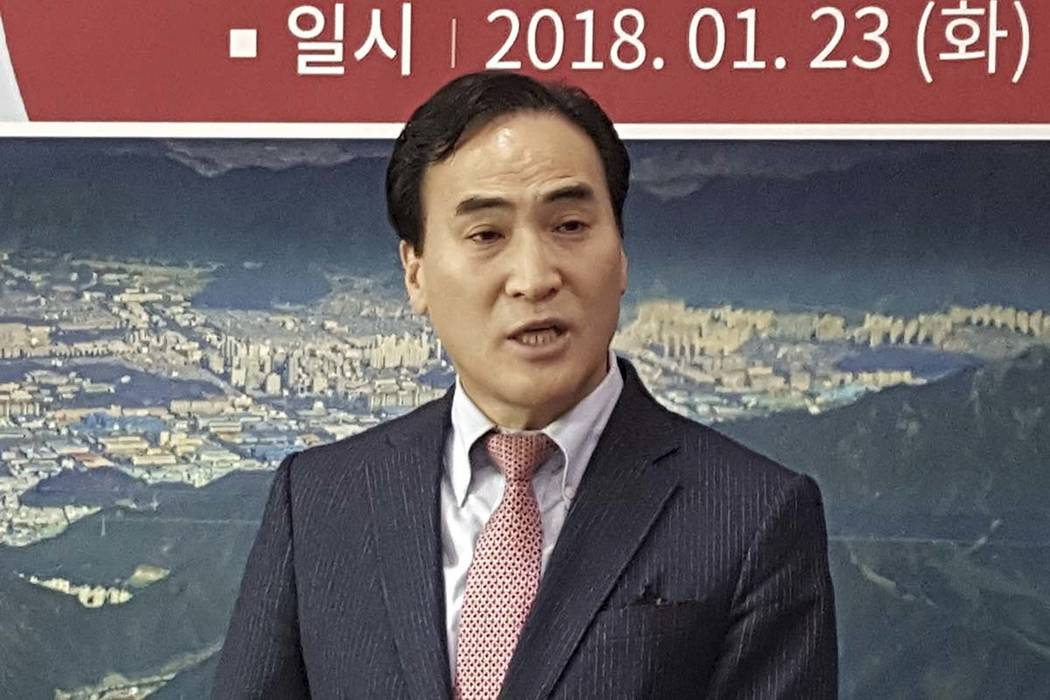 In this Jan. 23, 2018, photo, Kim Jong Yang, the senior vice president of Interpol executive committee, speaks during a press conference in Changwon, South Korea. On Wednesday, Nov. 21, 2028, Inte ...