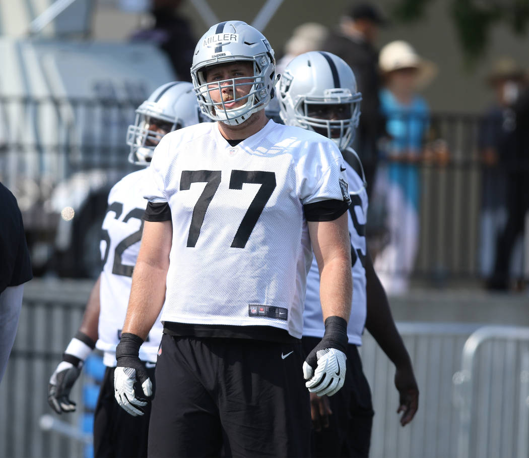 Oakland Raiders offensive tackle Kolton Miller (77) at the team's NFL training camp at the Napa Memorial Stadium in Napa, Calif., Saturday, July 28, 2018. Heidi Fang Las Vegas Review-Journal @Heid ...