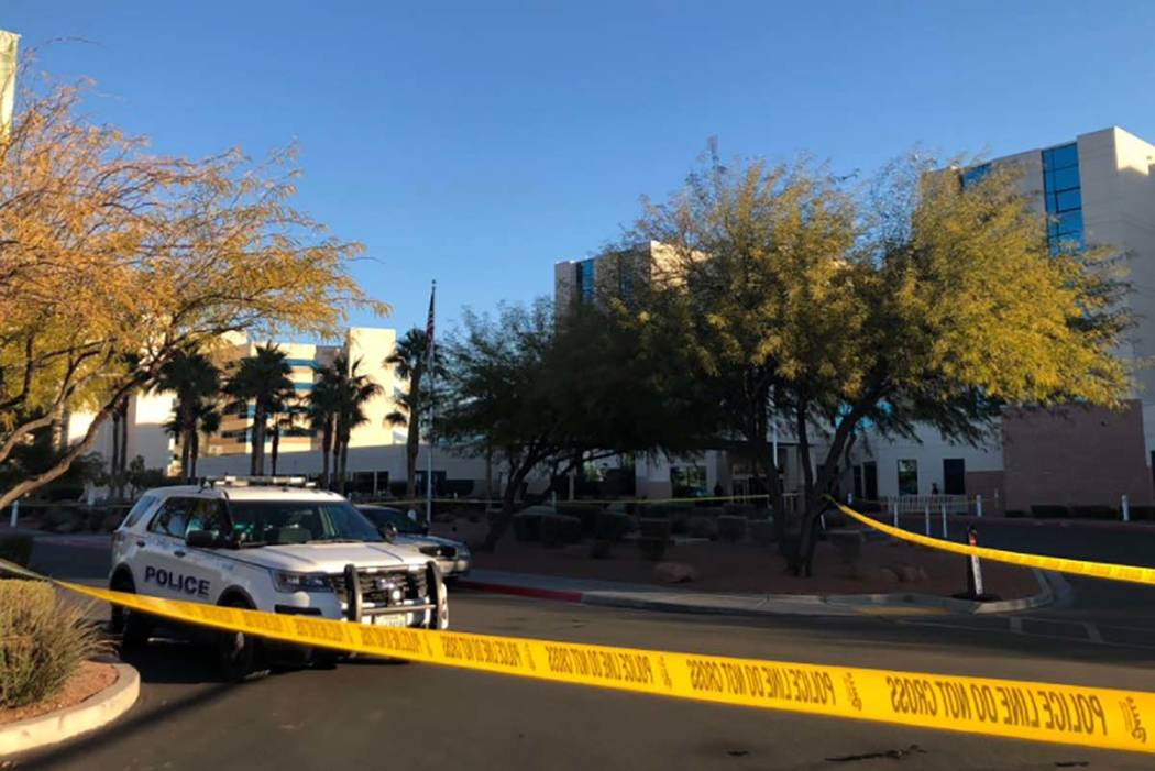 A 17-year-old girl was taken to MountainView Hospital where she died Wednesday morning after being shot. (Rio Lacanlale/Las Vegas Review-Journal)