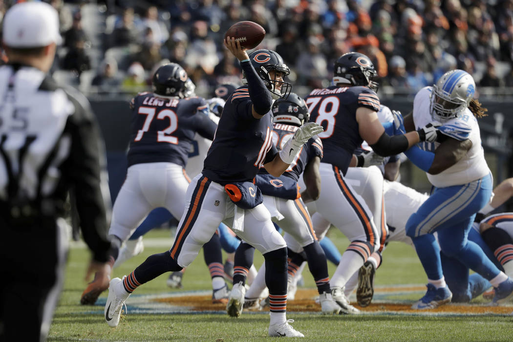 Chicago Bears quarterback Mitchell Trubisky (10) throws a pass during the first half of an NFL football game against the Detroit Lions Sunday, Nov. 11, 2018, in Chicago. (AP Photo/Nam Y. Huh)