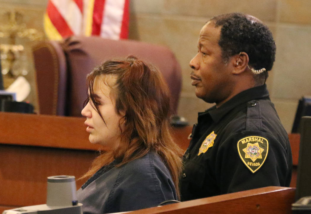 Aylin Alderette, 25, led out of the court room after being sentenced at the Regional Justice Center on Wednesday Nov. 21, 2018, in Las Vegas. Alderette pleaded guilty to charges of second-degree m ...