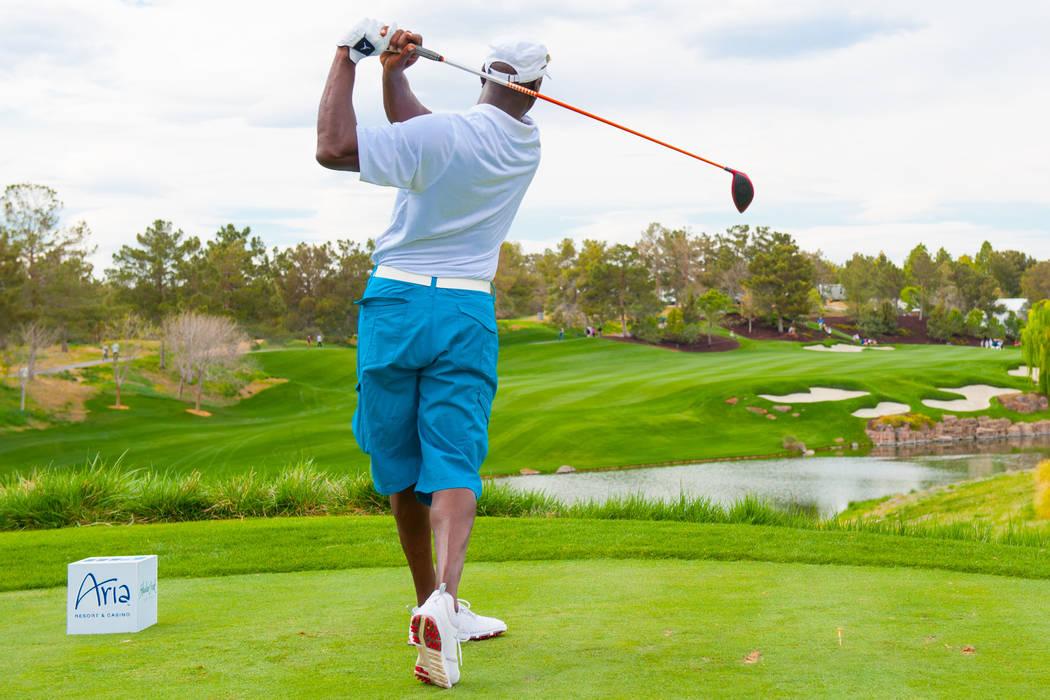 Michael Jordan tees off during 12th annual Michael Jordan Celebrity Invitational golf tournament at Shadow Creek in 2012 in North Las Vegas. (Photo by Isaac Brekken/Getty Images for Michael Jorda ...