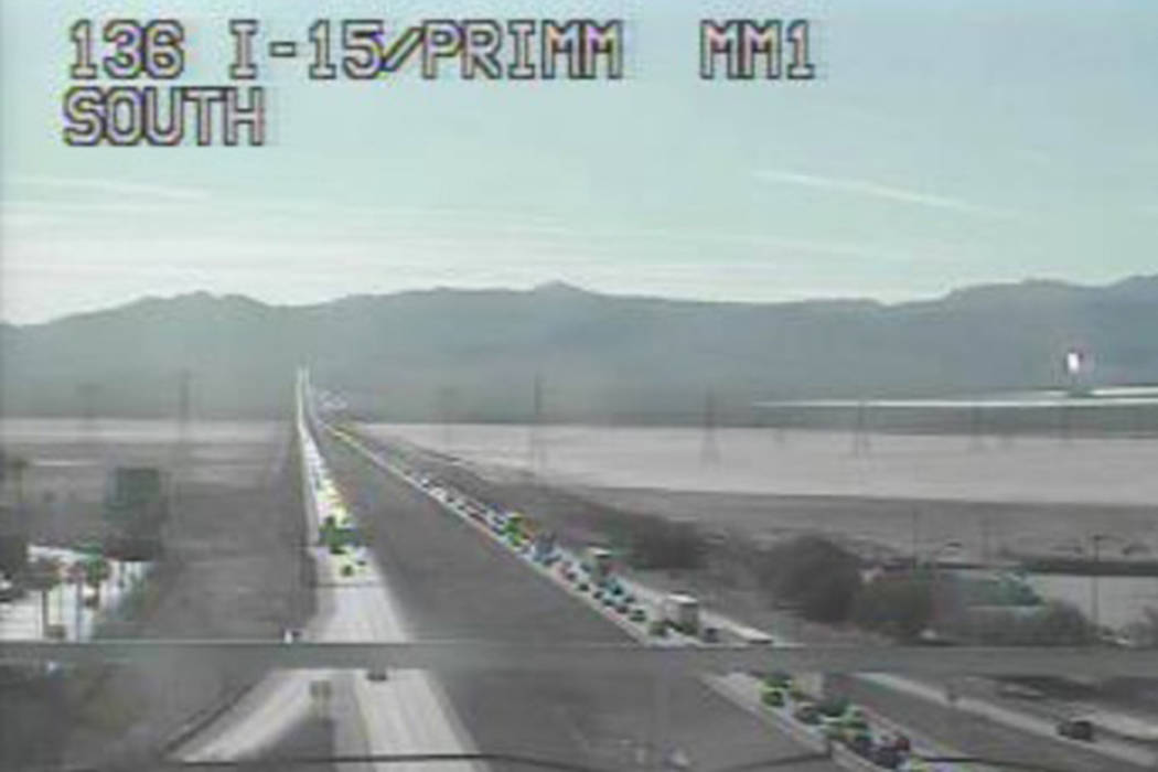 Traffic on southbound Interstate 15 near Primm is backed up heading into Thanksgiving. (RTC Traffic Cam)