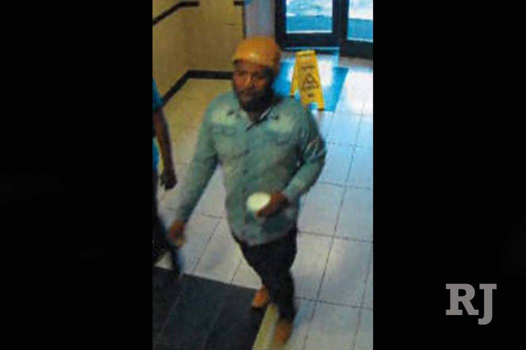 Police are asking for the public's help in identifying a man shown on surveillance cameras in connection with a Nov. 13 robbery at the Plaza sports book in downtown Las Vegas. (Las Vegas Me ...