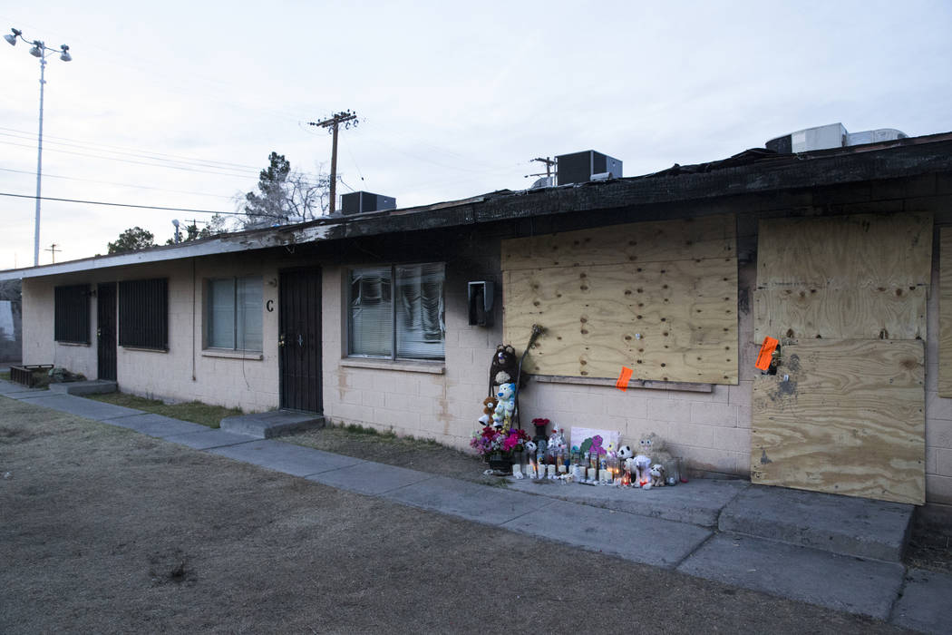 This February 2017 file photo shows the remains of a fatal house fire at Westlake Apartments where Diana Bankstown and her 8-year-old daughter, Kaysha Ray, died on Jan. 19, 2017. (Erik Verduzco/La ...