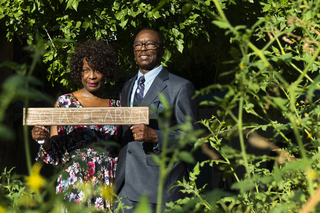 Charles and Doris Smith behind the garden dedicated to their granddaughter, Kaysha Ray, at Matt Kelly Elementary School in Las Vegas, Monday, Sept. 10, 2018. Kaysha Ray was eight-years-old when sh ...