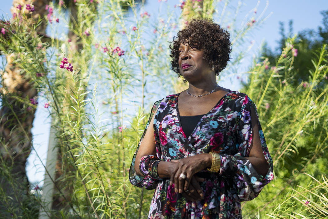 Doris Smith in front of the garden dedicated to her granddaughter, Kaysha Ray, at Matt Kelly Elementary School in Las Vegas, Monday, Sept. 10, 2018. Kaysha Ray was eight-years-old when she was kil ...