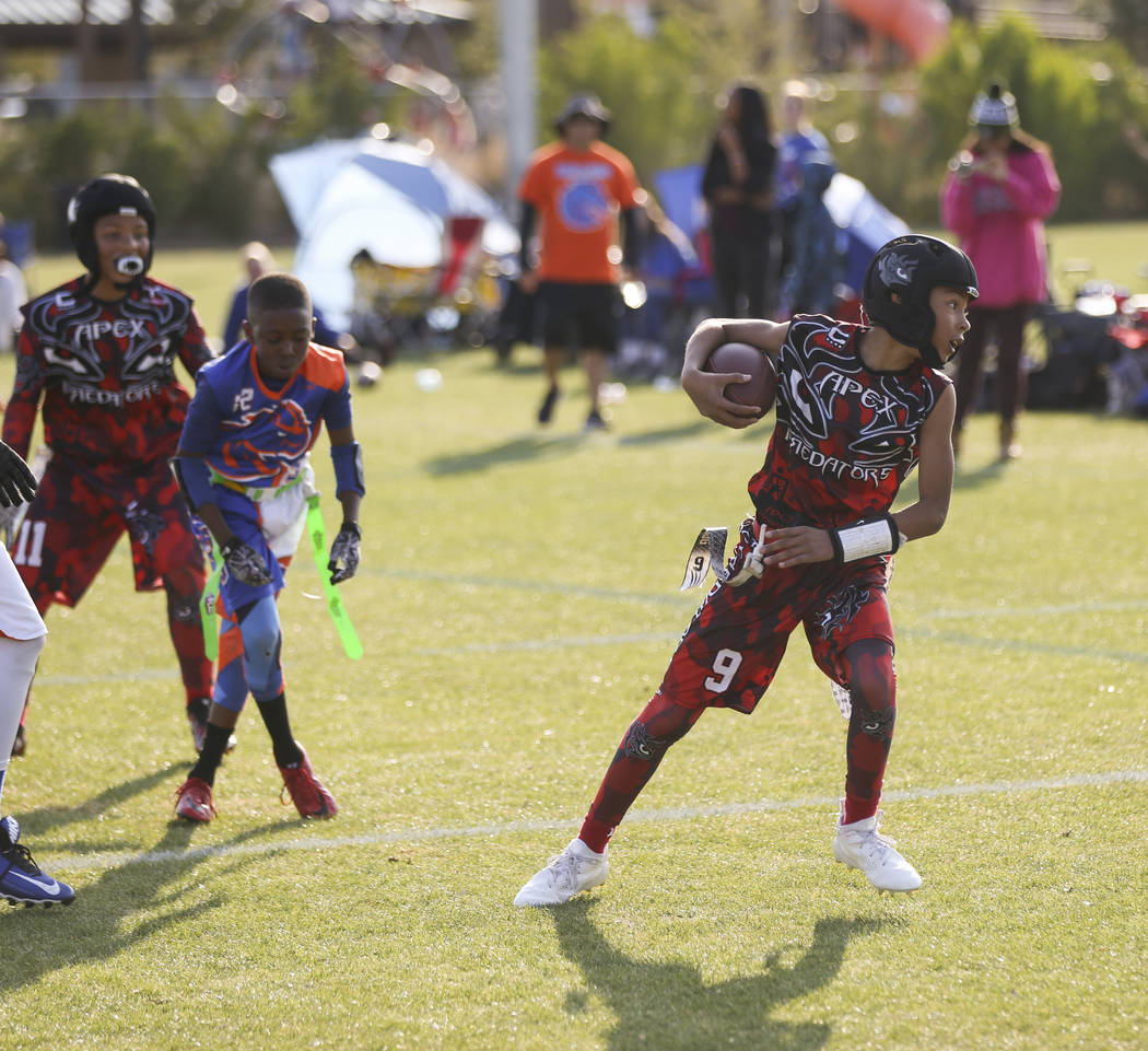 Apex Predators' Kory Villarreal makes it to the end zone to score a touchdown against the Ballers during a National Youth Sports Nevada flag football game at Aventura Park in Henderson on Saturday ...