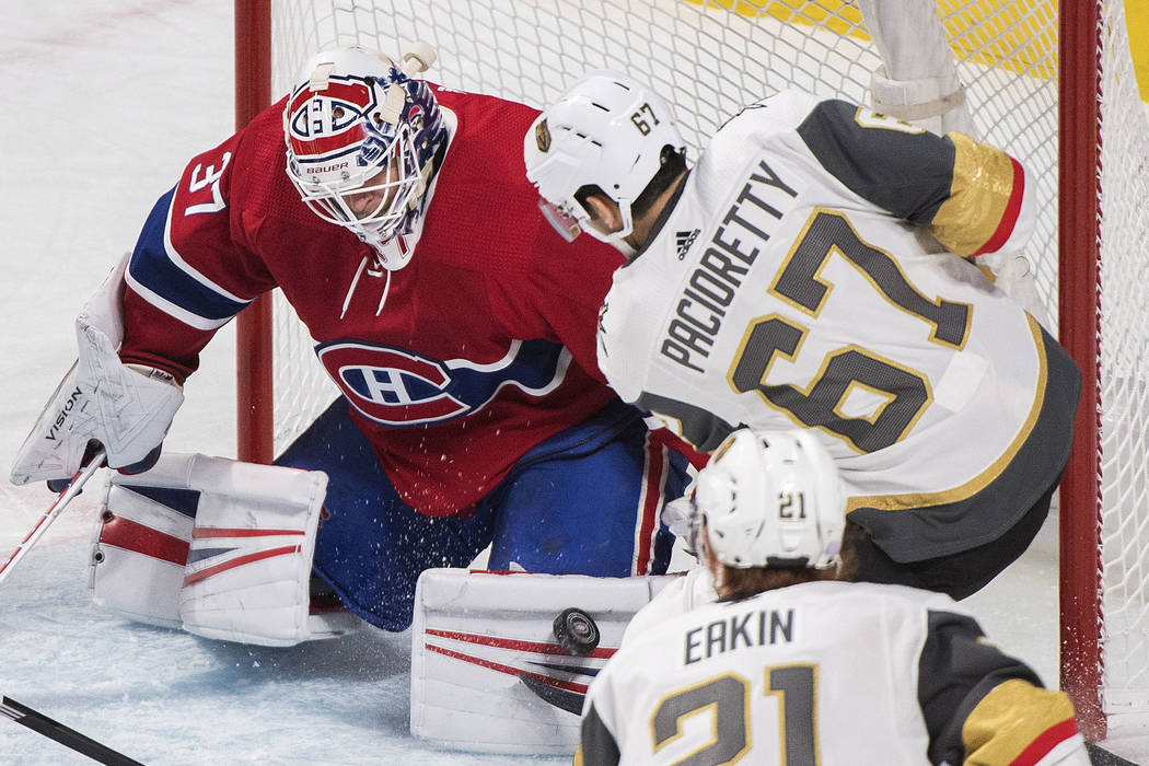 Vegas Golden Knights' Max Pacioretty takes a shot on Montreal Canadiens goaltender Antti Niemi during the first period of an NHL hockey game, Saturday, Nov. 10, 2018 in Montreal. (Graham Hughes/Th ...