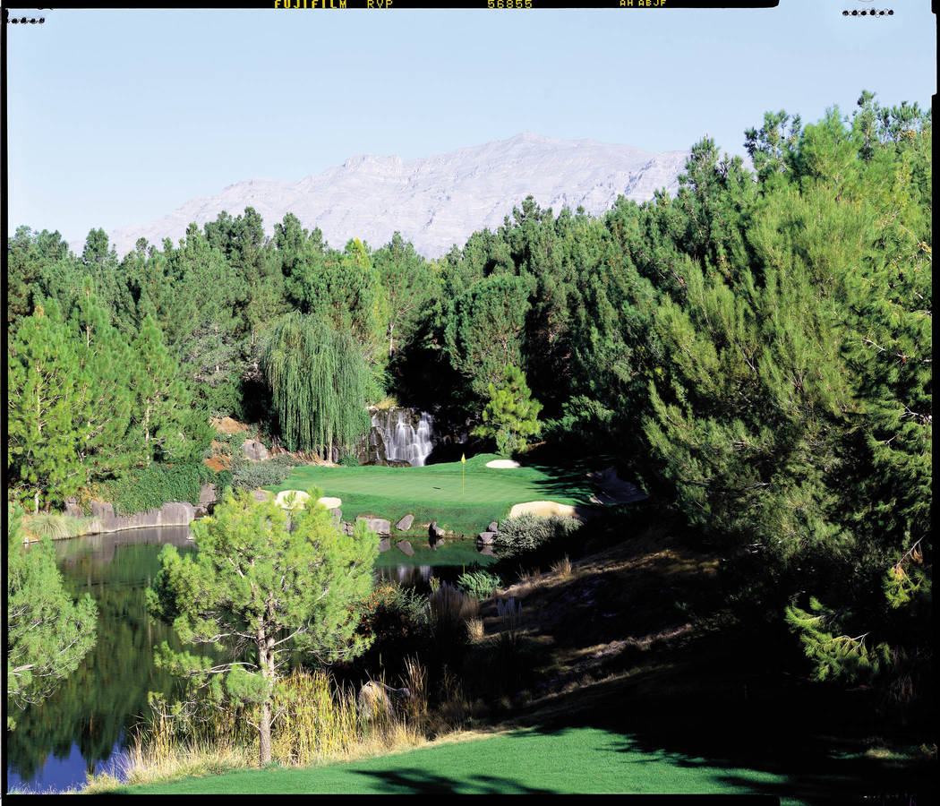 The green for the 17th hole is shown at the Shadow Creek Golf Club in this undated courtesy photograph. (Shadow Creek photo)
