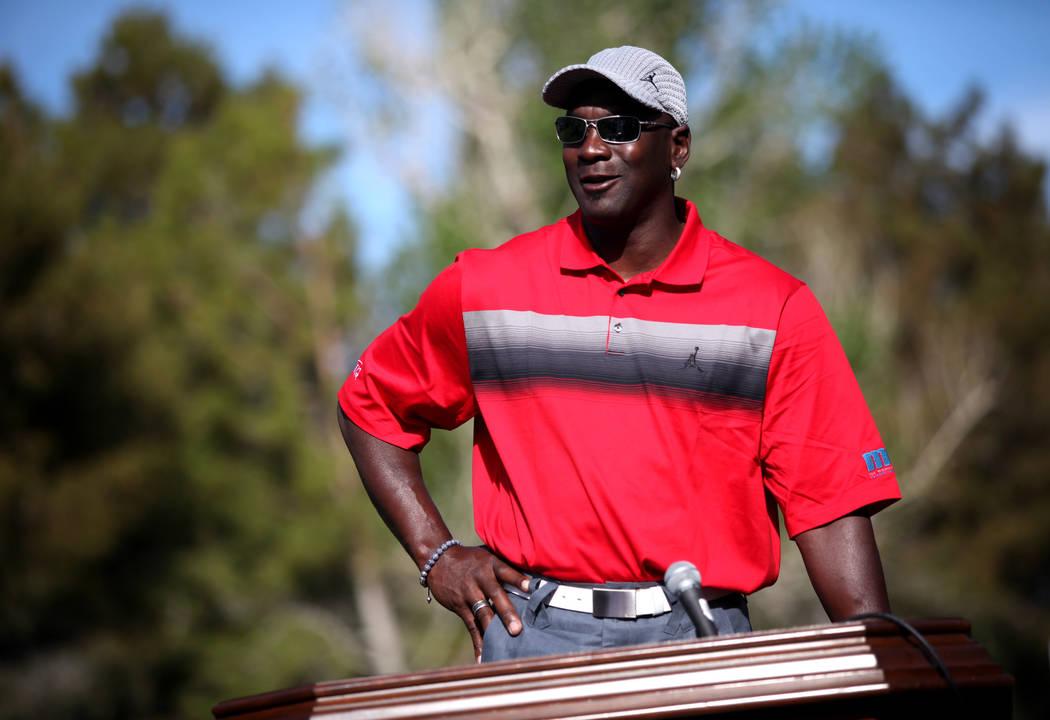 Michael Jordan gives a press conference at Shadow Creek Golf Course in North Las Vegas, where the Michael Jordan Celebrity Invitational will be held. Mar. 30, 2011. (Jessica Ebelhar/Las Vegas Revi ...