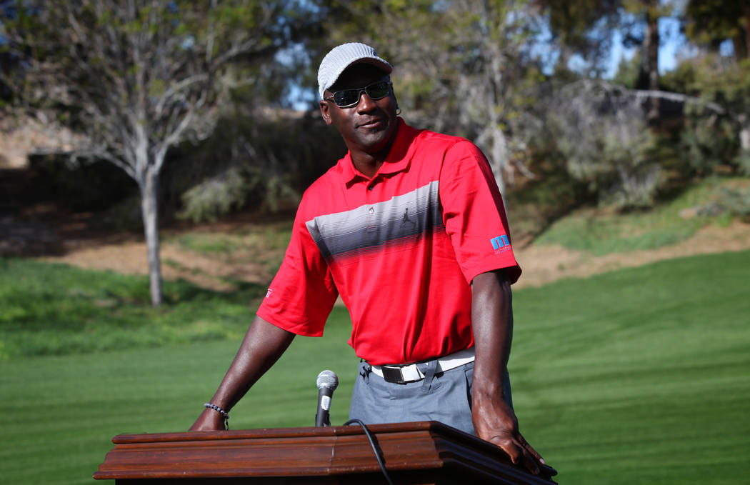 Michael Jordan gives a press conference at Shadow Creek Golf Course in North Las Vegas, where the Michael Jordan Celebrity Invitational will be held. (Jessica Ebelhar/Las Vegas Review-Journal)