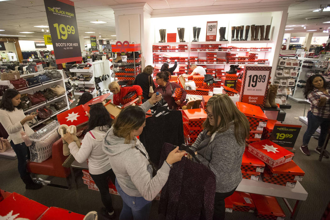 Shoppers navigate the women's boot section at J.C. Penney at the Meadows Mall in Las Vegas, Thursday, Nov. 22, 2018. Richard Brian Las Vegas Review-Journal @vegasphotograph