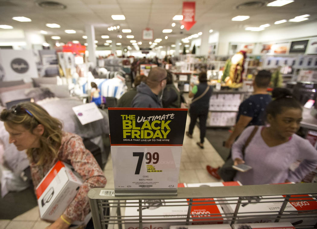 Shoppers navigate the busy aisles at J.C. Penney at the Meadows Mall in Las Vegas, Thursday, Nov. 22, 2018. Richard Brian Las Vegas Review-Journal @vegasphotograph