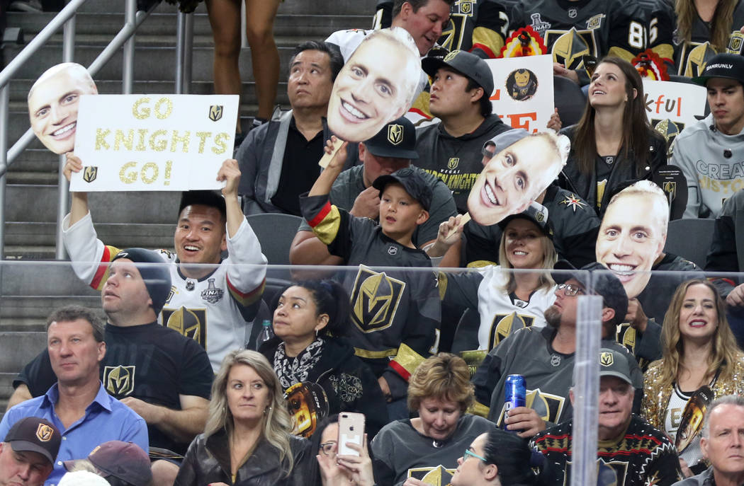 Vegas Golden Knights fans welcome Nate Schmidt (88), not pictured back to T-Mobile Arena during the first period of an NHL game against the Calgary Flames in Las Vegas, Friday, Nov. 23, 2018. Heid ...