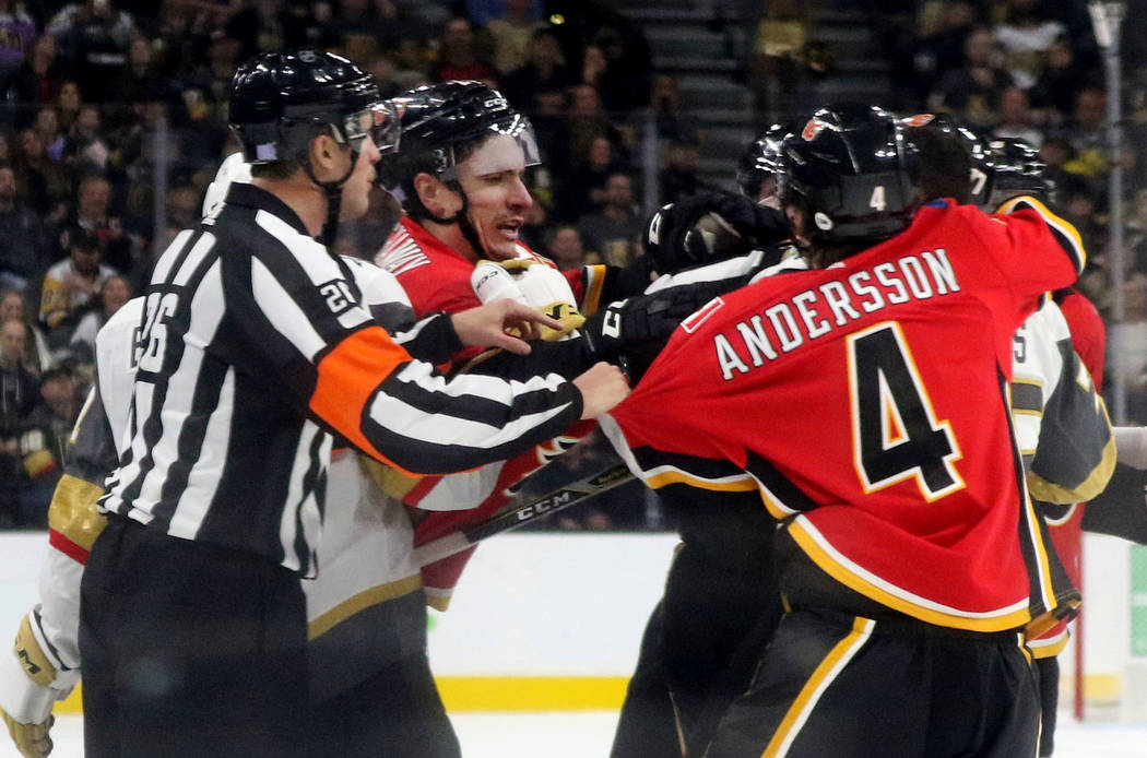 during the second period of an NHL game in Las Vegas, Friday, Nov. 23, 2018. Heidi Fang Las Vegas Review-Journal @HeidiFang
