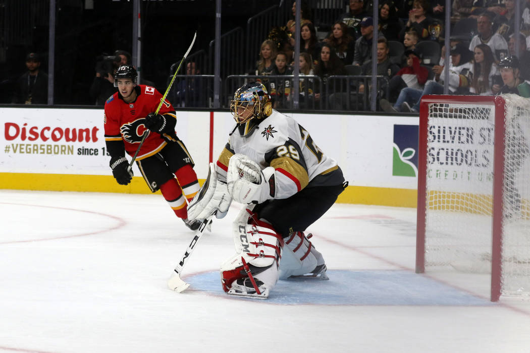 Vegas Golden Knights goaltender Marc-Andre Fleury (29) protects the net during the second period of an NHL game against the Calgary Flames in Las Vegas, Friday, Nov. 23, 2018. Heidi Fang Las Vegas ...