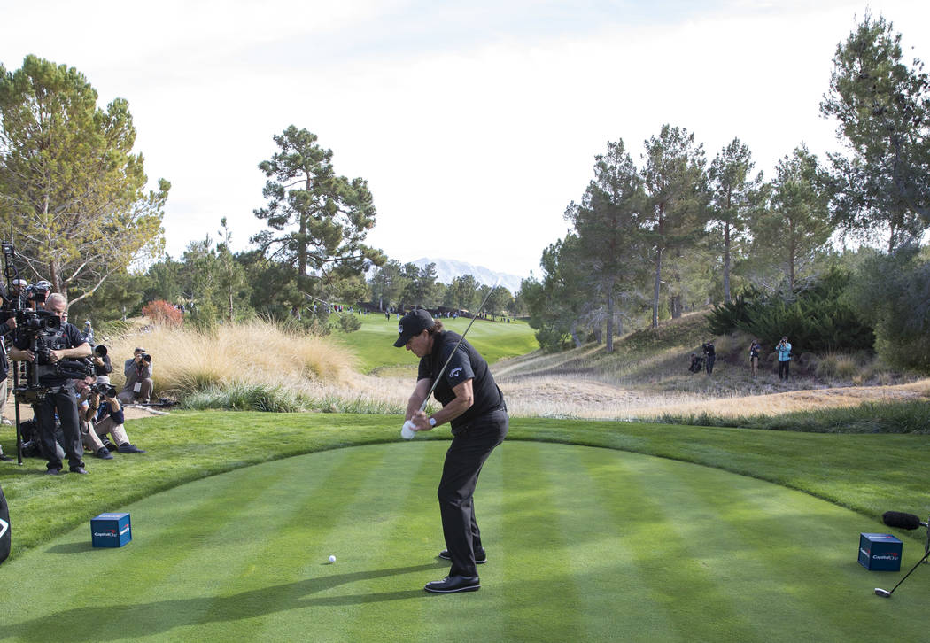Phil Mickelson hits from the second tee box during The Match at Shadow Creek Golf Course in North Las Vegas on Friday, Nov. 23, 2018. Richard Brian Las Vegas Review-Journal @vegasphotograph