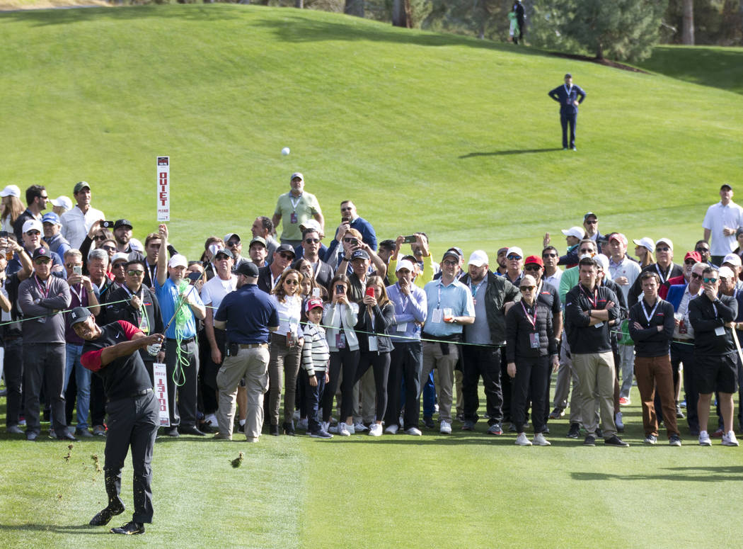 Tiger Woods hits from the first fairway during The Match at Shadow Creek Golf Course in North Las Vegas on Friday, Nov. 23, 2018. Richard Brian Las Vegas Review-Journal @vegasphotograph