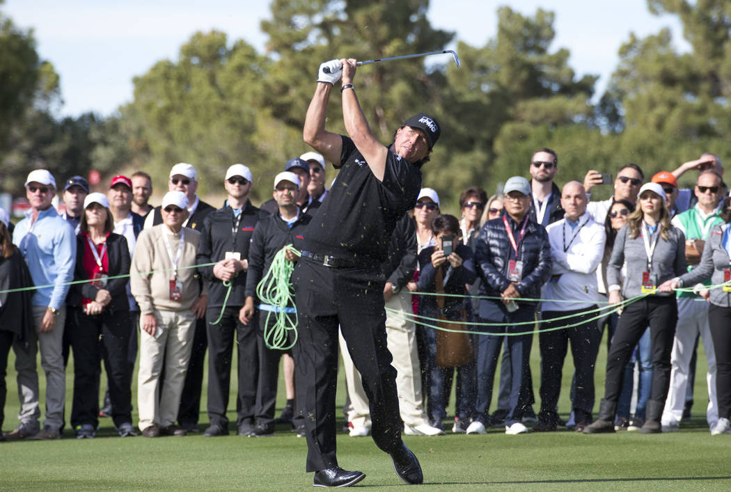 Phil Mickelson hits from the second fairway during The Match at Shadow Creek Golf Course in North Las Vegas on Friday, Nov. 23, 2018. Richard Brian Las Vegas Review-Journal @vegasphotograph