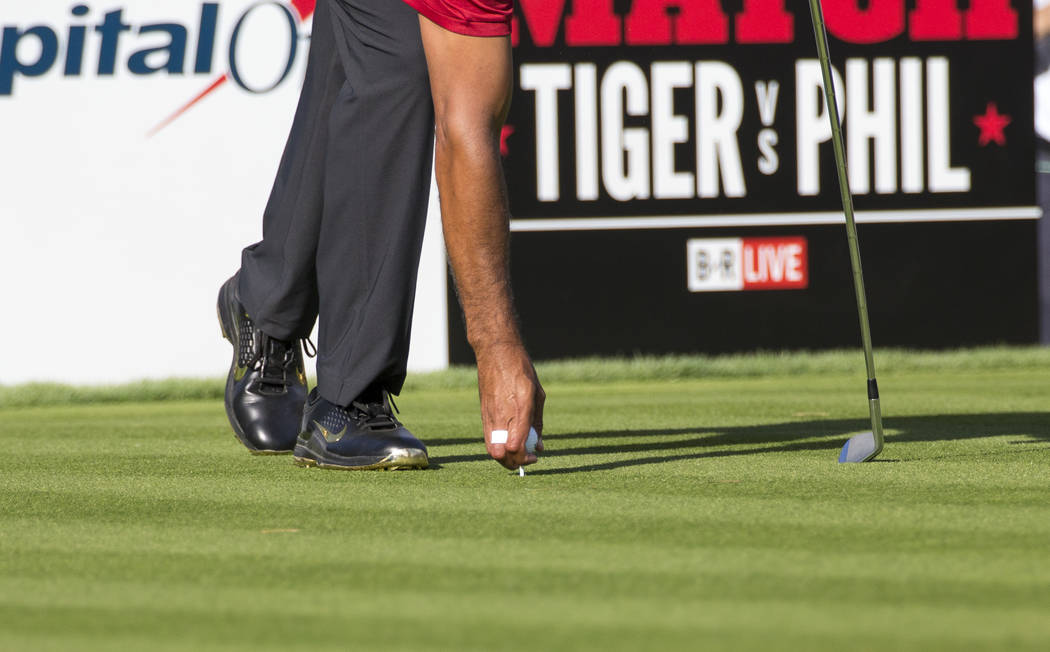 Tiger Woods prepares to hit from the fifth tee box during The Match at Shadow Creek Golf Course in North Las Vegas on Friday, Nov. 23, 2018. Richard Brian Las Vegas Review-Journal @vegasphotograph